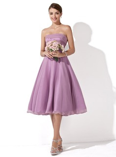 A-Line/Princess Strapless Knee-Length Bridesmaid Dresses